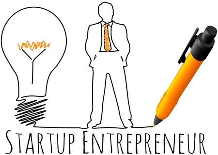 Business plan drawing of entrepreneur startup idea light bulb