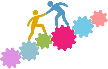 Consultor de tecnología o reclutador ayuda a persona a mejorar o unirse a la compañía de tecnología Ilustración de vector