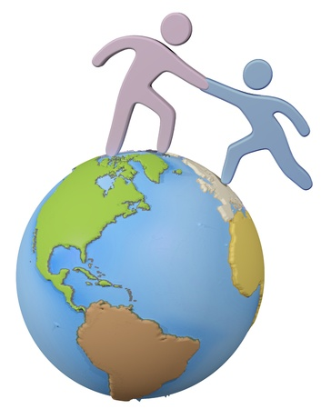 reaches: Global person reaches out helping hand to help a friend up on top of the world