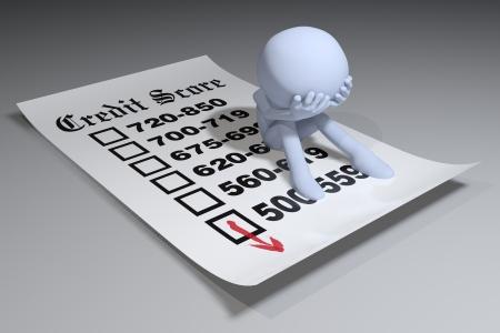 Consumenten in de schulden op een slechte kredietbureau score rapport