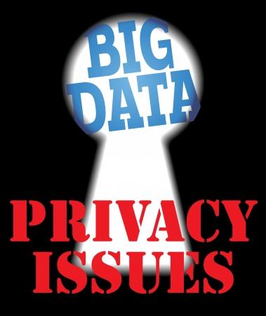 개인 정보 기술 문제 대 빅 데이터 보안 일러스트