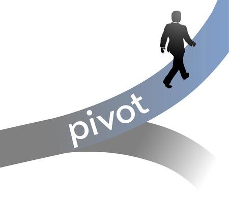 Entrepreneur pivots his lean start up enterprise strategy to a new business model Illustration