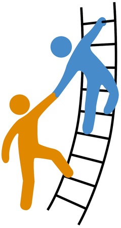teamwork together: Person helping friend or partner join to climb up the ladder of success