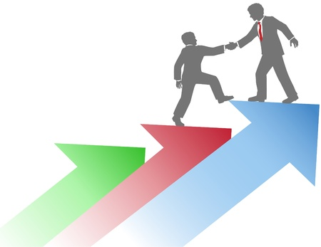 coworker: Business person helping co-worker step up on arrows to success Illustration