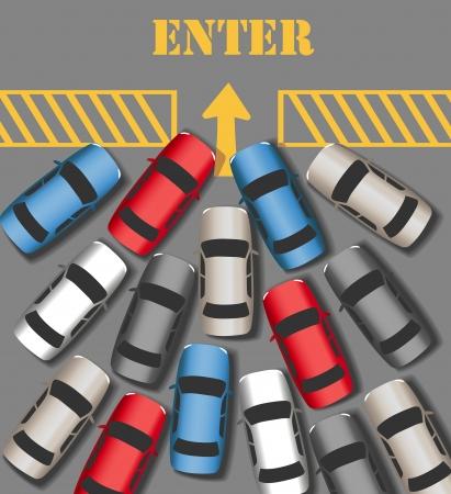Bezoekers auto menigte in te drukke website of bedrijf te gaan Stock Illustratie