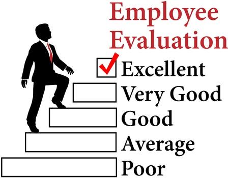 Zaken man klimt Werknemer Evaluatieformulier voor verbetering Stock Illustratie