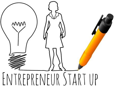 Business plan drawing of female entrepreneur startup idea light bulb Stock Illustratie