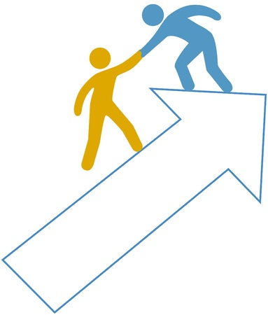 to climb: Person helping friend partner step up on arrow to success Illustration