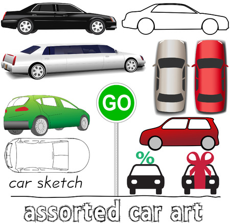 autos: Set of Car and auto transportation symbols and drawings