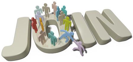 Helpende hand aan nieuw lid aan de mensen van een sociale groep of INSCHRIJVEN