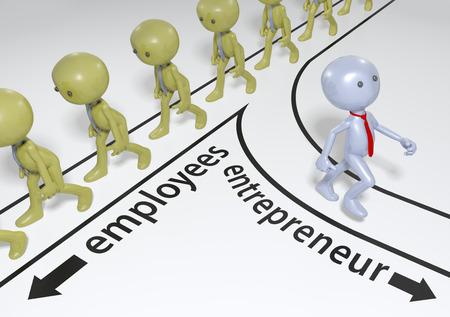 Entrepreneur decision to choose path to start up business success Foto de archivo