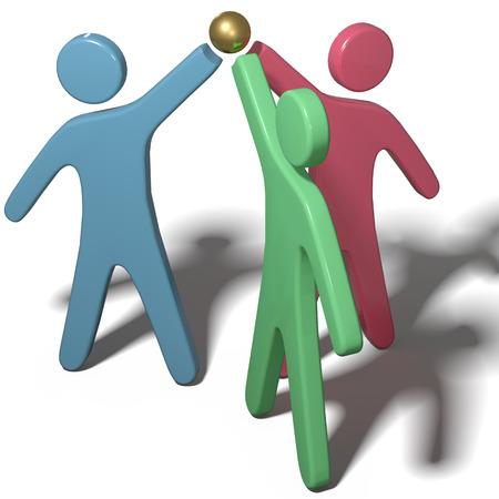 Drie mensen team de handen ineen om samen te werken of te vieren met clipping-path Stockfoto