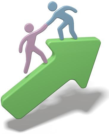 Persoon die friend opvoeren om samen met hem op pijl naar succes met het knippen van weg