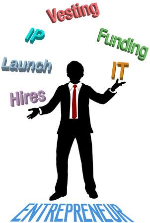 mvp: Entrepreneur juggling lean startup business plan Illustration