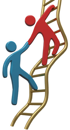 cooperate: Person helping friend or partner join to climb up the golden ladder of success