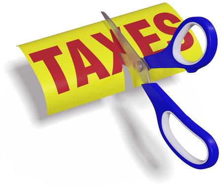 reduce taxes: Pair of scissors cuts unfair too high taxes in half