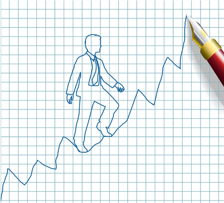 business person: Pen drawing business person from start up to growth business success on chart Illustration