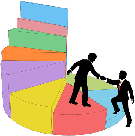 sales person: Business person makes deal to help grow market share or sales chart or join successful team  Illustration