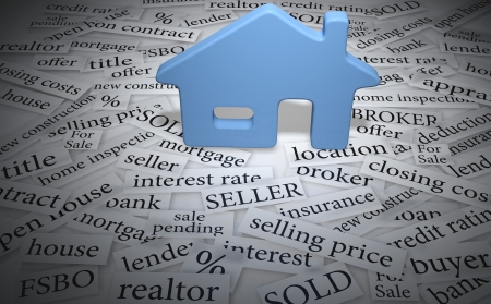 brokers: Home symbol on real estate for sale words like mortgage interest sold  Stock Photo