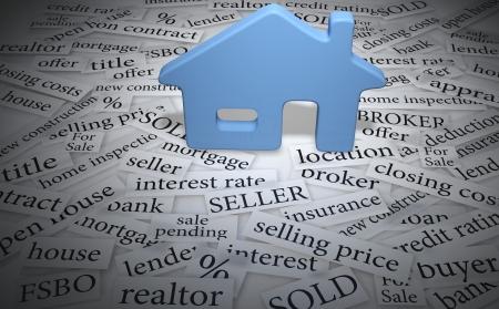Home symbool op onroerend goed te koop woorden als hypotheekrente verkocht Stockfoto