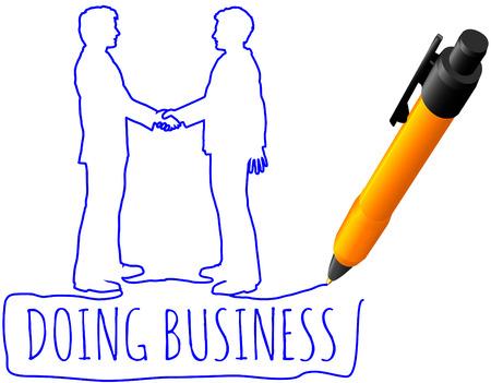 펜 드로잉 비즈니스 사람들이 파트너 계약에 악수 일러스트