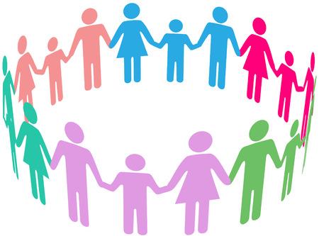 인간의 손에: 다양한 가족의 사람들이 그룹은 사회 원의 손을 잡고 함께 참여