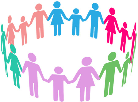 h�ndchen halten: Menschen Gruppe von verschiedenen Familien, die zusammen in Gemeinschaft Kreis Hand in Hand kommen Illustration
