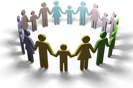 apoyo social: Grupo de las familias se unen en comunidad social círculo de la amistad