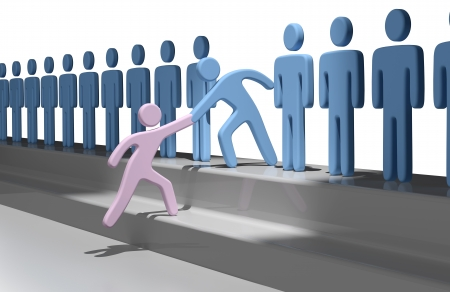 Member gives a hand up to help new person join social group or business team photo