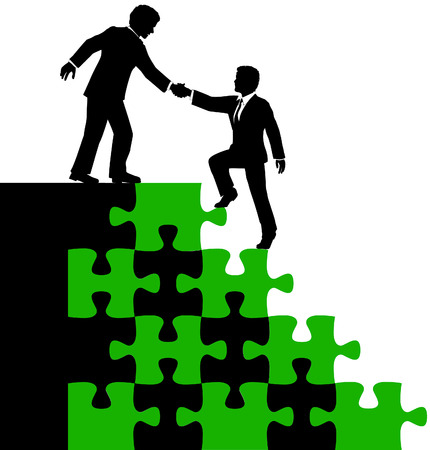 Business consultant mentor or teamwork helps associate find problem puzzle solution Imagens - 25101030