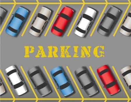 Muchos coches estacionados en la tienda o negocio estacionamiento llenando todos los espacios Ilustración de vector