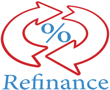 mortgage rates: Refinance home mortgage to lower percent rate icon Illustration