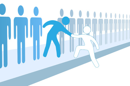 personas ayudando: Miembro da una mano para ayudar a nueva persona unirse a grupo social o de equipo de negocios