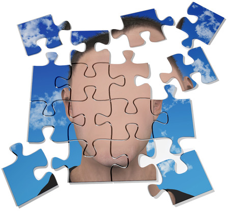 anybody: Face of generic or mysterious anonymous man on a jigsaw puzzle Stock Photo