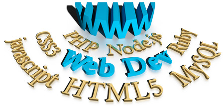 html: WWW site developer software services HTML CSS SQL PHP Stock Photo