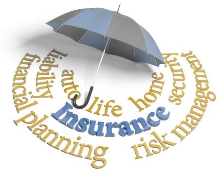 Símbolo del paraguas de la cobertura de seguro a todo riesgo para la vida de auto en casa y otros riesgos Foto de archivo - 25455920