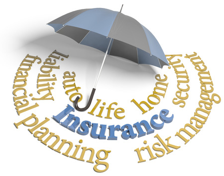 home protection: Umbrella symbol of comprehensive insurance coverage for home auto life and other risks