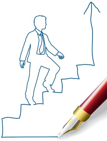 펜의 성공까지의 단계를 등반 비즈니스 사람의 스케치 낙서 그리기