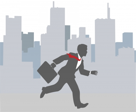 Busy business person hurrying to appoint in big city rush hour
