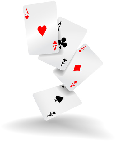 card game: Four aces of diamonds clubs spades and hearts fall or fly as poker playing cards