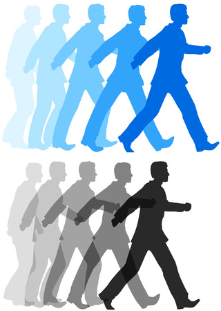fast forward: Animation style sequence of business person starting to walk confidently forward