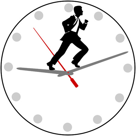 Busy business man races the clock to rush to an appointment or meeting