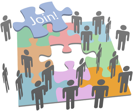 business people connecting through puzzle Vector