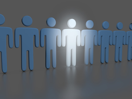 choose person: Choose the one bright stand out person who shines in a line of people