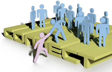 Member gives helping hand up to a new person to join a company or social group  Imagens