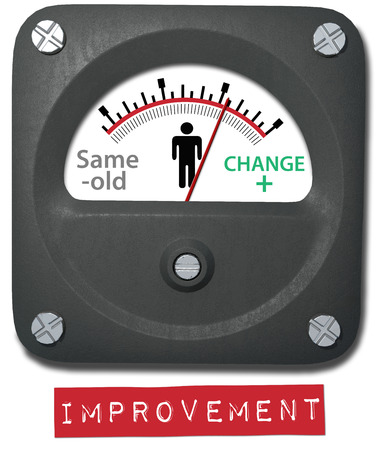 better: Improvement gauge to measure change from same old thing to better  Stock Photo
