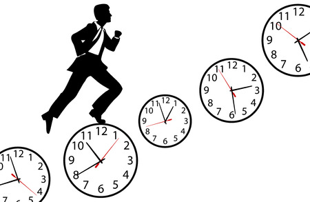 Busy business man hurries through his day running up clock steps Vector