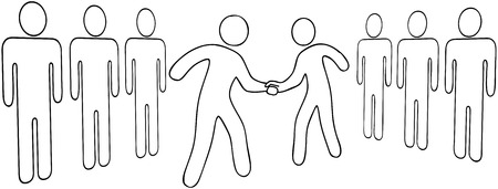 merger: Outline drawing of business leaders merger handshake or partners agreement