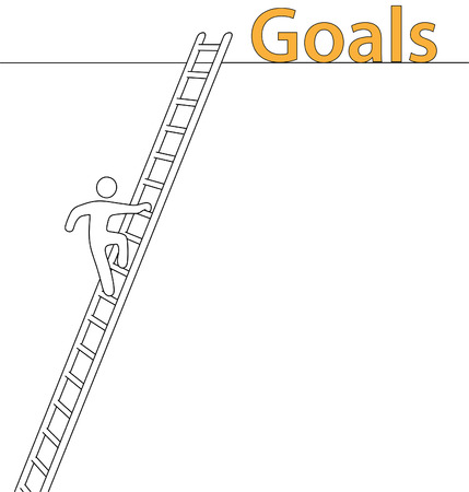 climbing ladder: Person climbing upward on a ladder to achieve lofty goals