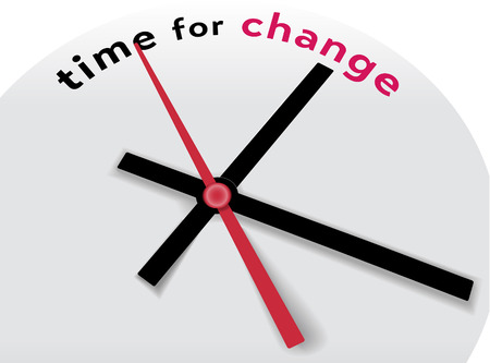 time change: Hands of clock point to time for change and improvement